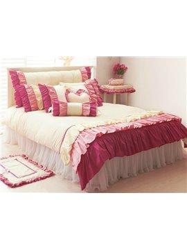 Three Layers Lace Trim Cotton Princess Duvet Cover Sets
