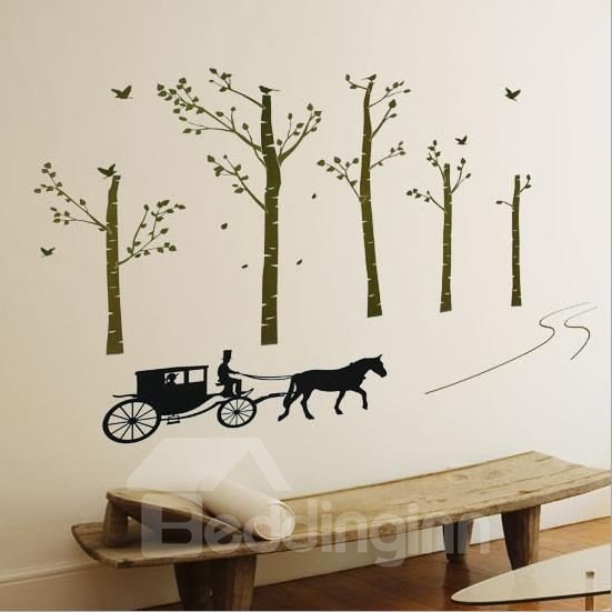 New Arrival Carriage in Forest Wall Stickers