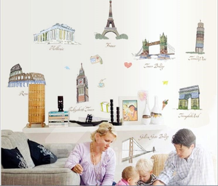 New Arrival World Famous Architecture Wall Stickers