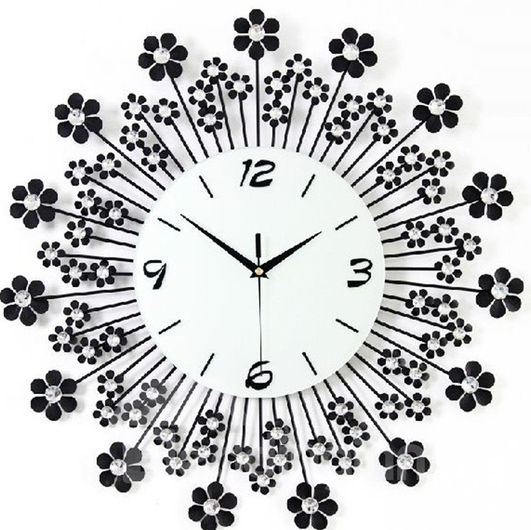 Hot Selling Fantastic Floral Dandelion Diamonds Decorative Wall Clock