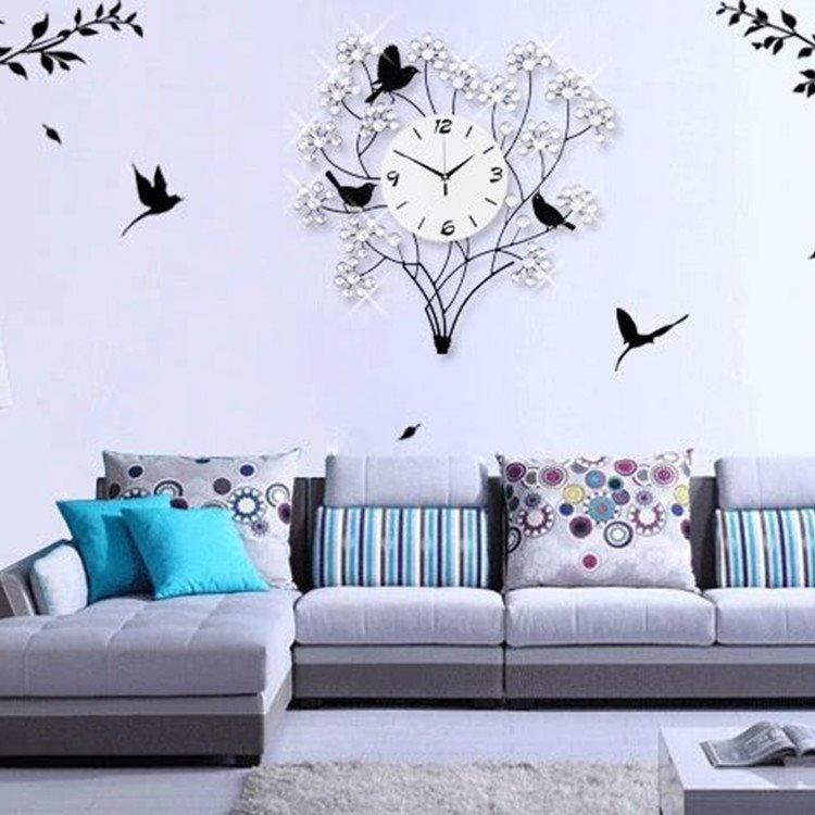 European Style Luxury Metal Birds on Tree Branch Shape Wall Clock