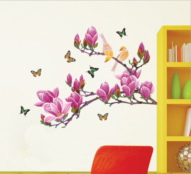 Fresh Birds and Butterflies on Magnolia Wall Stickers