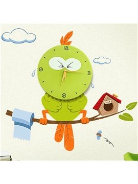 Attracting Green Cute Creative Owl Shape Home Decorative Wall Clock