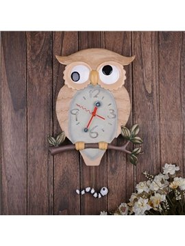 Amazing Creative Swinging Resin Owl Wall Clock