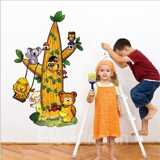 New Arrival Various Lovely Animals on Trees Wall Stickers