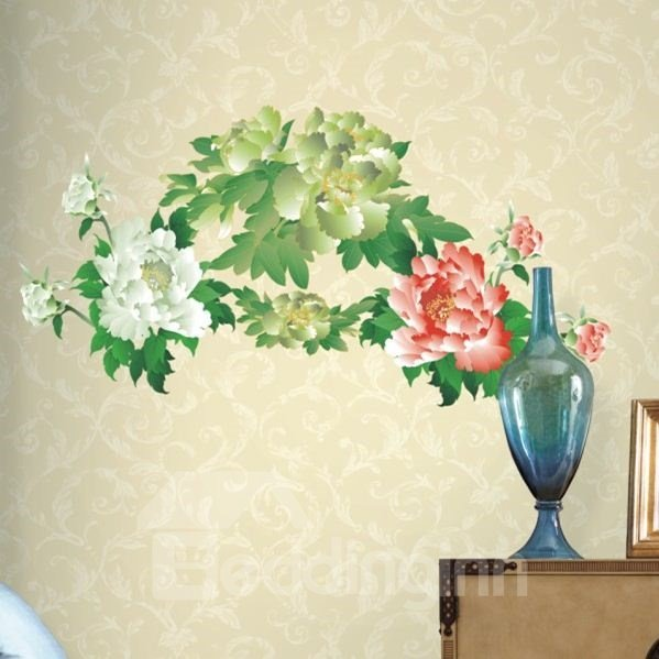 New Arrival Delicate Peony Print Wall Stickers