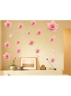 Fancy Simple Style Pink Roses and Butterflies Pattern Wall Stickers