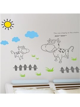 New Arrival Cows and Fence Wall Stickers
