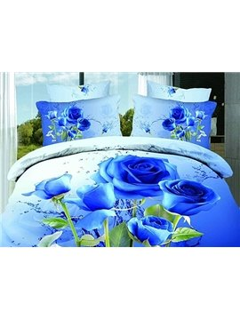 New Arrival 100% Cotton Pastoral Style  Plant Flowers Active Printed 4 Piece Bedding Sets