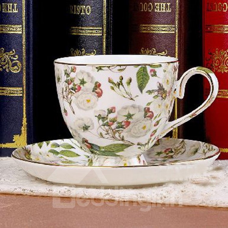 Allluring European Style White Floral Bone China 2 Cups and 2 Saucers Sets 10939978