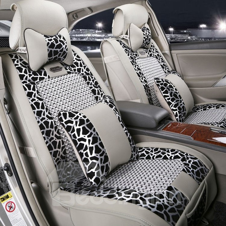 new arrival high quality luxury gray leopard print seat covers. Black Bedroom Furniture Sets. Home Design Ideas