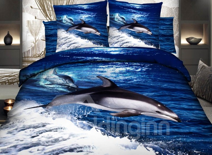 Dolphins Surfing In Waves Print 3d Duvet Cover Sets