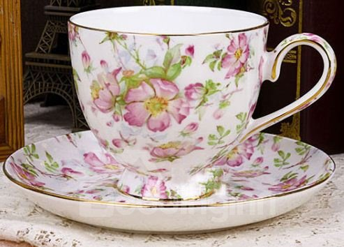 Allluring European Style Pink Roses Bone China 2 Cups and 2 Saucers Sets