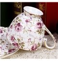 Allluring European Style Charming Roses Bone China 2 Cups and 2 Chassises Sets