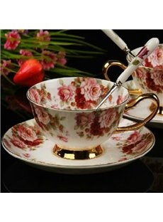 Charming European Style Afternoon Tea Floral Bone China Coffee Mug
