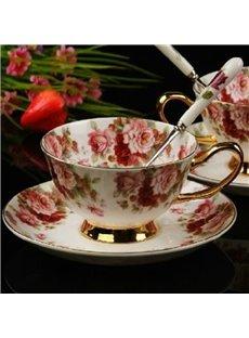 Charming European Style Afternoon Tea Floral Bone China Coffee Mug