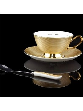 Allluring European Style Gold Bone China Coffee Mug