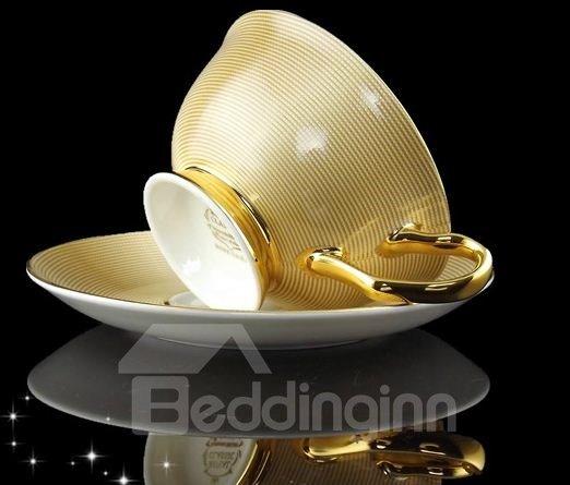 Allluring European Style Gold Bone China Coffee Mug