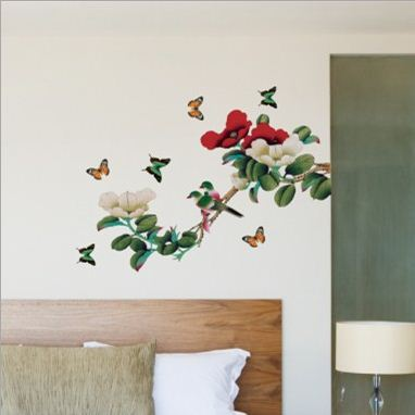 Simple Style Fantastic Bird and Butterfly on Branch Wall Stickers