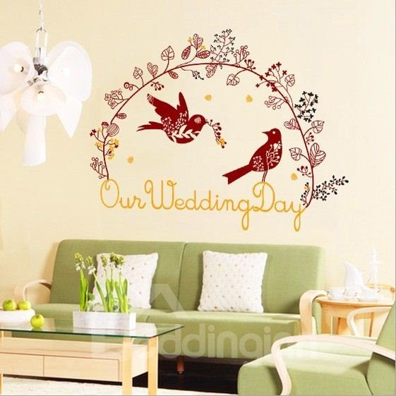 New Arrival Romantic Wreath Wedding Wall Stickers