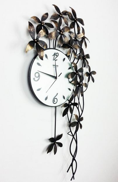 Hot Selling Alluring Creative Antique Metal Flower Wall Clock