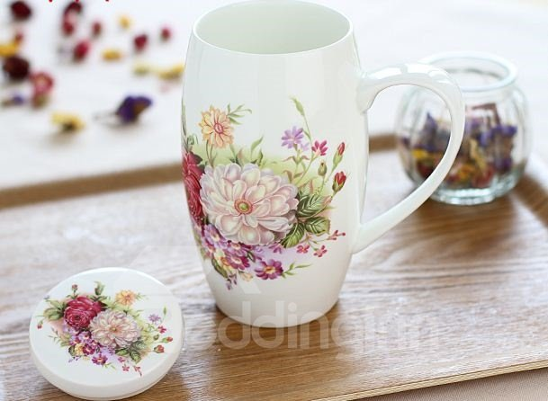 High Quality Amazing Floral Bone China Creative Mug