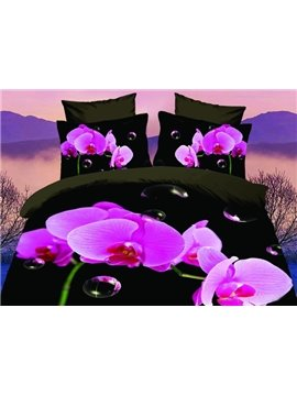 High Quality Beautiful Red Blossoms 4 Pieces Polyester 3D Bedding Sets