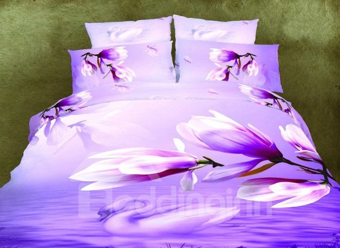 High Quality Purple Magnolia 4 Pieces Polyester 3D Bedding Sets