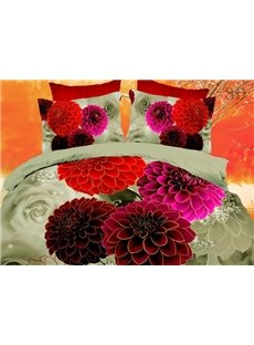 High Quality Little Daisy Print 4 Pieces Polyester 3D Bedding Sets