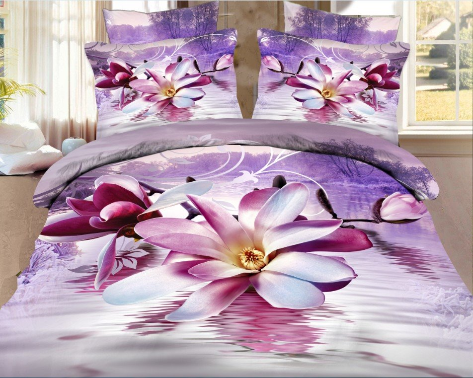 High Quality Elegant Purple Magnolia Print 4 Pieces Polyester 3D Bedding Sets