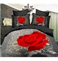 High Quality Romantic Rose Print  4 Piece Polyester 3D Bedding Sets