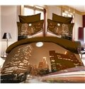 High Quality Modern Beautiful City 4 Piece Polyester 3D Bedding Sets