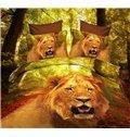 High Quality Ferocious Lion Head Print 4 Piece Polyester 3D Bedding Sets