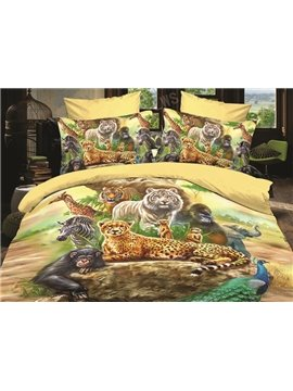 High Quality Different Animal Print  4 Piece Polyester 3D Bedding Sets