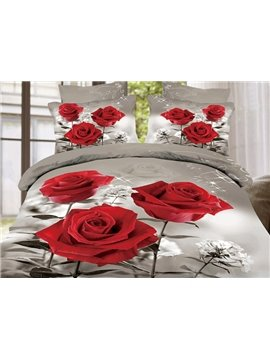 High Quality Pretty Red Roses Print 4 Pieces Polyester 3D Bedding Sets