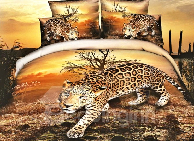 Lifelike Leopard Print 4 Pieces Polyester Duvet Cover Sets