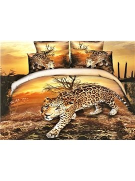High Quality Lifelike Leopard Print 4 Pieces Polyester 3D Bedding Sets