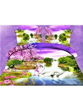 High Quality Amazing Elegant Swans Print 4 Pieces Polyester 3D Bedding Sets