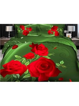 High Quality Fragrant and Elegant Red Roses 4 Pieces Polyester 3D Bedding Sets