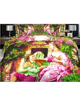 High Quality Elegant and Beautiful Lady 4 Pieces Polyester 3D Bedding Sets