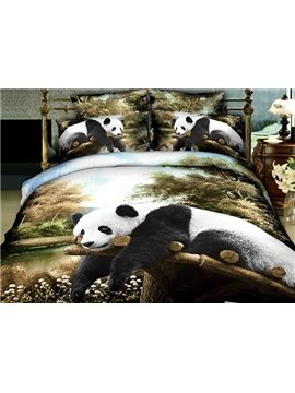 High Quality Lifelike Panda Lying on the Trunk Print 4 Pieces Polyester 3D Bedding Sets