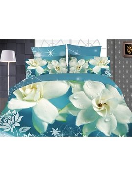 High Quality Gorgeous White Gardenia  Print 4 Pieces Polyester 3D Bedding Sets
