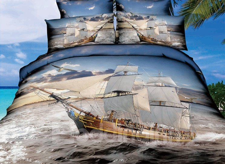 Ship Sailing on the Sea 3D Printed 4-Piece Polyester Duvet Cover Sets