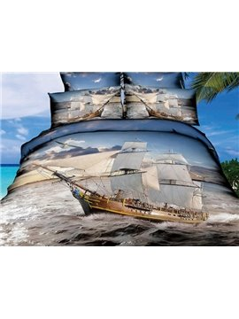High Quality Ship Sailing on the Sea Print 4 Pieces Polyester 3D Bedding Sets