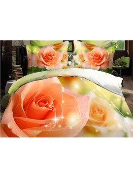 High Quality Fancy Orange Roses Print 4 Pieces Polyester 3D Bedding Sets