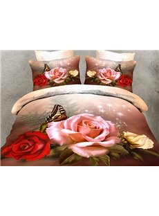 Elegant Roses and Butterfly Print 4-Piece Polyester 3D Duvet Cover Sets