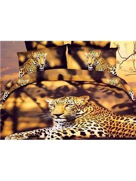 High Quality Lifelike Fierce Leopard Print 4 Pieces Polyester 3D Bedding Sets