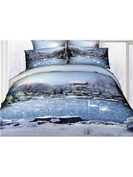 High Quality Beautiful Natural Scenery Print 4 Pieces Polyester 3D Bedding Sets