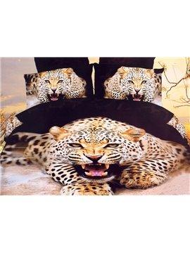 High Quality Lifelike Ferocious Leopard Print 4 Pieces Polyester 3D Bedding Sets