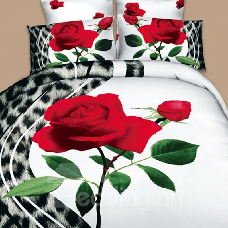 A Rose and Leopard Print 3D Duvet Cover Sets
